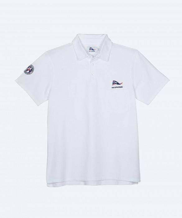 Polo The Explorers pour homme, manches courtes et trois boutons, blanc - Ampat
