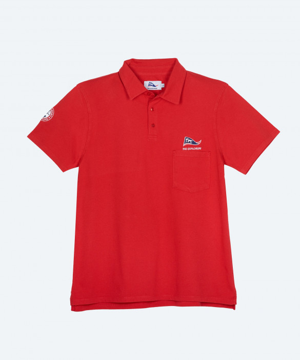 Men's The Explorers short sleeves red polo shirt - Ampat