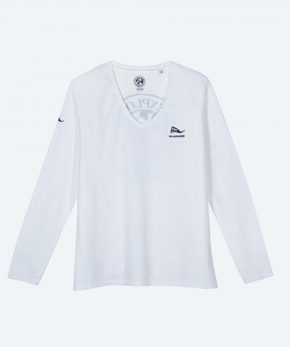 T-shirt The Explorers pour femme, manches longues et col V, couleur blanc - Moorea