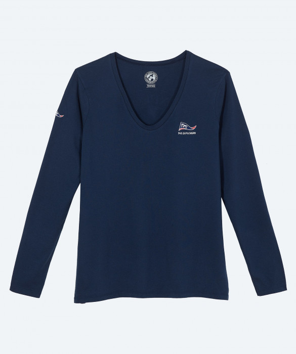 T-shirt The Explorers pour femme, manches longues et col V bleu marine - Moorea