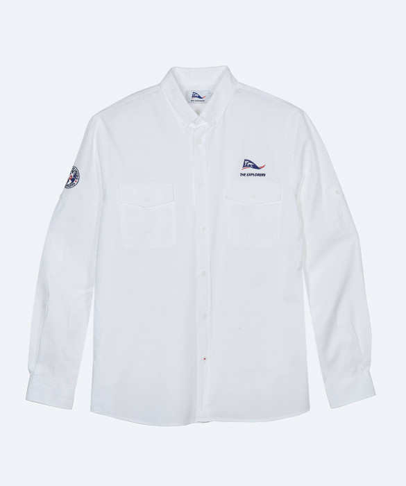 Chemise The Explorers pour homme, manches longues blanche - Macaw