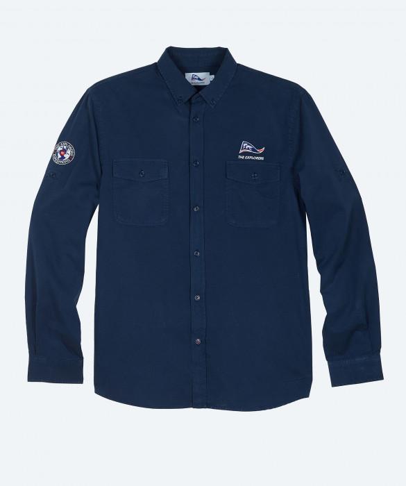 Chemise The Explorers pour homme, manches longues et col rond, bleu marine - Macaw