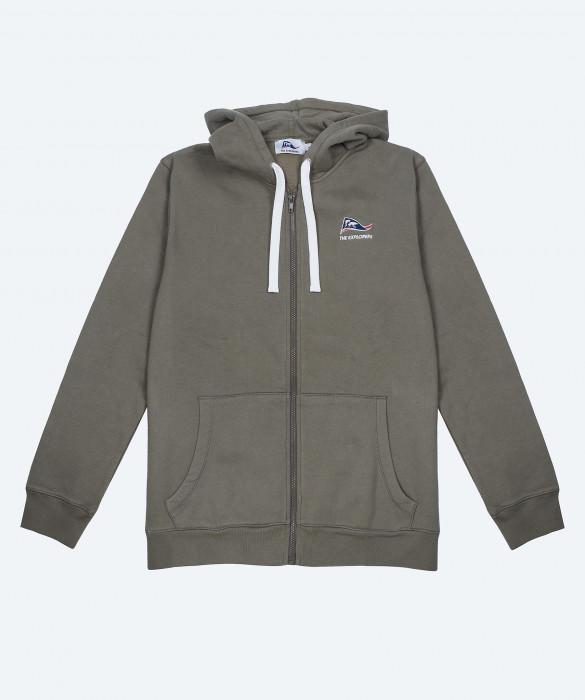 Sweat-shirt capuche The Explorers pour homme ou femme, entièrement zippé, couleur kaki - Pizzly