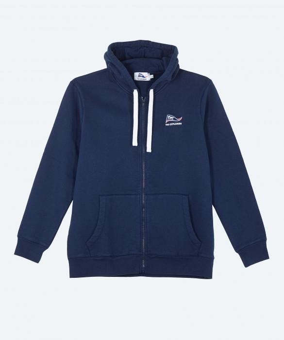 Unisex The Explorers full zip navy blue hoodie - Pizzly