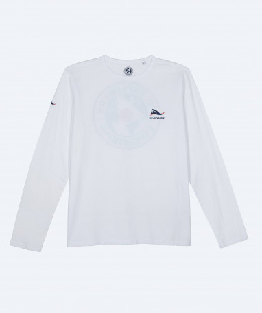 T-shirt The Explorers pour femme, manches courtes et col V blanc - Pinda