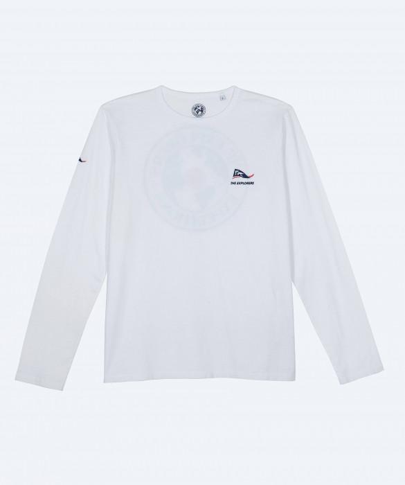 T-shirt The Explorers pour homme, blanc et manches longues - Copan