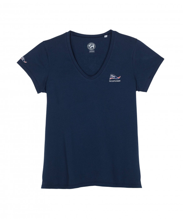 T-shirt The Explorers pour femme bleu marine et manches courtes - Pinda